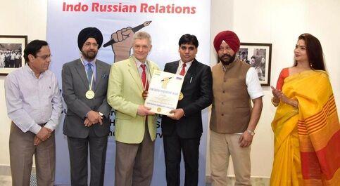 पत्रकार ओपी यादव इंडो रसियन पार्टनरशिप अवार्ड से सम्मानित