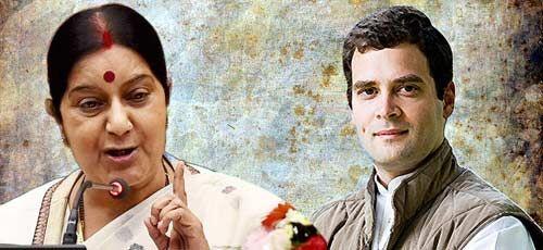 सुषमा ने राहुल को दी मर्यादित भाषा इस्तेमाल करने की सलाह