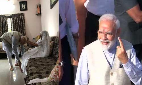 मां का आशीर्वाद लेने के बाद पीएम मोदी ने डाला वोट, कहा - वोटर ID में IED से बड़ी ताकत