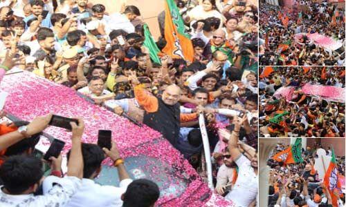 लोकसभा चुनाव में जीत के बाद भाजपा मुख्यालय पर शाह का हुआ जोरदार स्वागत