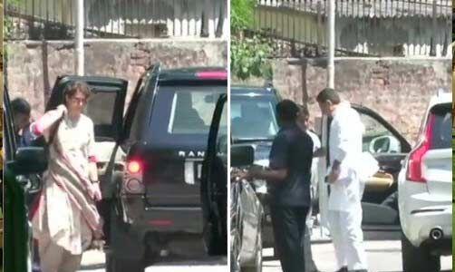 कांग्रेस अध्यक्ष के आवास पर पहुंचे प्रियंका, सचिन और सुरजेवाला