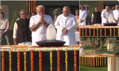 नरेन्द्र मोदी ने शपथ लेने से पहले दी महात्मा गांधी, अटल बिहारी वाजपेयी और शहीदों को श्रद्धांजलि