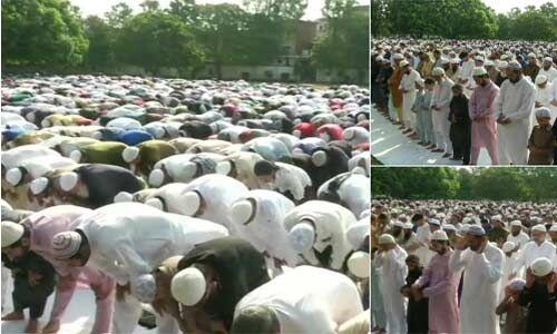 देशभर में मस्जिदों में नमाज पढ़ने के बाद एक दूसरे से गले मिलकर दी ईद की बधाई