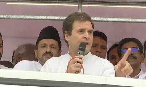कांग्रेस अध्यक्ष राहुल गांधी ने वायनाड में किया रोड शो