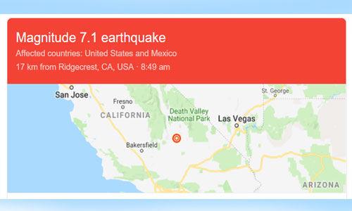 यूएसए के दक्षिणी कैलिफोर्निया में 7.1 की तीव्रता का भूकम्प