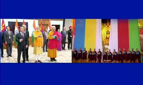 मंगोलियाई राष्ट्रपति ने पीएम मोदी के साथ किया बौद्ध प्रतिमा का अनावरण