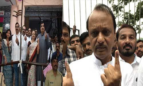 #MaharashtraElections : नितिन गडकरी और एनसीपी नेता अजीत पवार ने किया मतदान