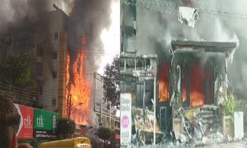 गोल्डन गेट होटल में लगी भीषण आग, चार दमकल मौके पर मौजूद