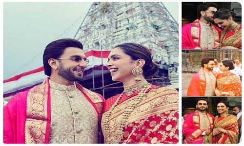 शादी की पहली सालगिरह पर वेंकटेश्वर मंदिर पहुंचे दीपिका और रणवीर