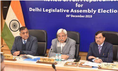 चुनाव आयोग ने की दिल्ली विधानसभा के लिए चुनाव पूर्व तैयारियों की समीक्षा