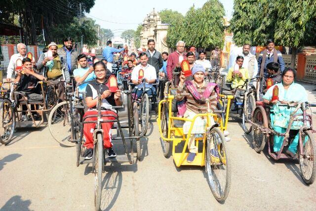 ग्वालियर : दिव्यांग ट्राई साईकिल रेस प्रतियोगिता का हुआ आयोजन