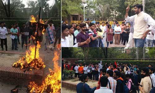 अभाविप का विरोध प्रदर्शन, दिल्ली हिंसा में शामिल आप नेता ताहिर हुसैन का फूंका पुतला