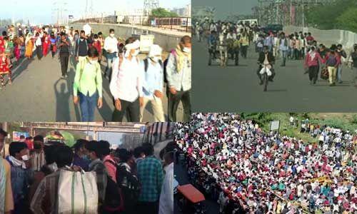 कोरोना पर लॉकडाउन का ब्रेकडाउन, बस अड्डों पर उमड़ी मजदूरों की भीड़