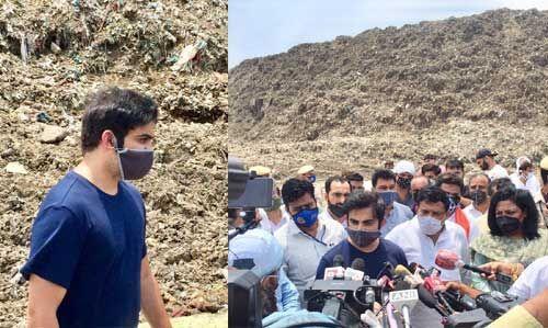गौतम गंभीर ने किया गाजीपुर लैंडफिल साइट का दौरा, बोले - यहां पर पिछले 20 सालों की सरकार का है कूड़ा