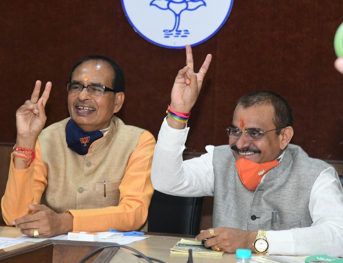 मुख्यमंत्री शिवराज सिंह पहुंचे दीनदयाल परिसर, कंट्रोल रूम से रख रहे उपचुनावों पर नजर