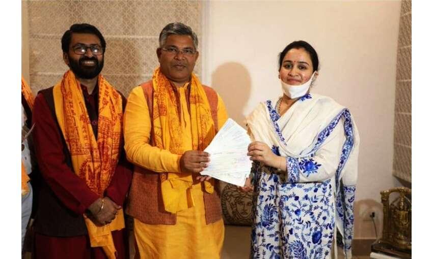 राममंदिर निर्माण के लिए सपा संरक्षक मुलायम सिंह की बहू अपर्णा ने दिए 11 लाख रूपए