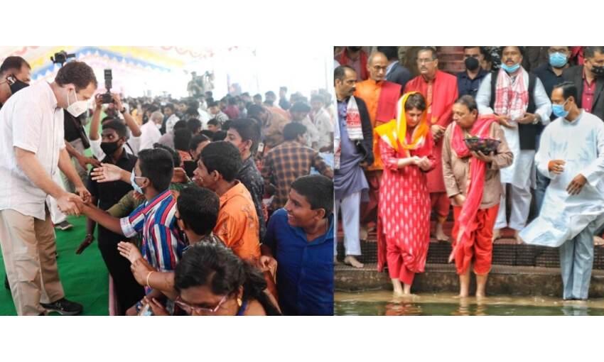 कांग्रेस का चुनावी अभियान, प्रियंका पहुंची असम, राहुल का तमिलनाडु में रोड शो