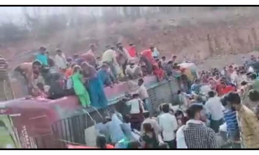 ग्वालियर : जौरासी घाटी पर मजदूरों से भरी ओवरलोड बस पलटी, 2 की मौत, 12 घायल