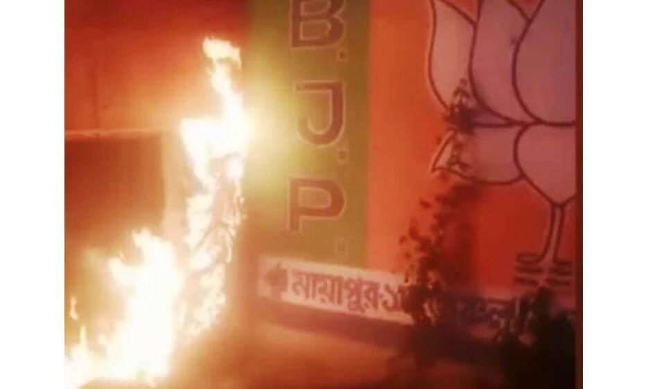 नंदीग्राम में तृणमूल कार्यकर्ताओं ने की तोड़फोड़, भाजपा कार्यालय में आग लगाई