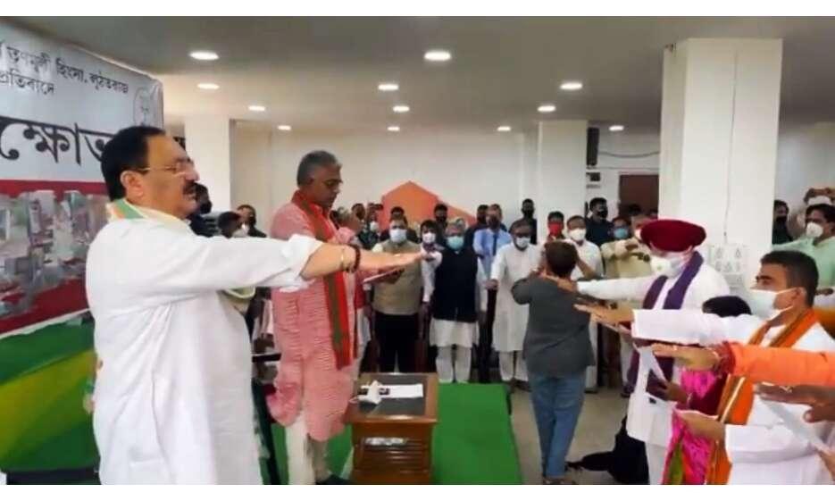 पश्चिम बंगाल हिंसा के विरोध में भाजपा देगी धरना, नड्डा ने विधायकों को दिलाई शपथ