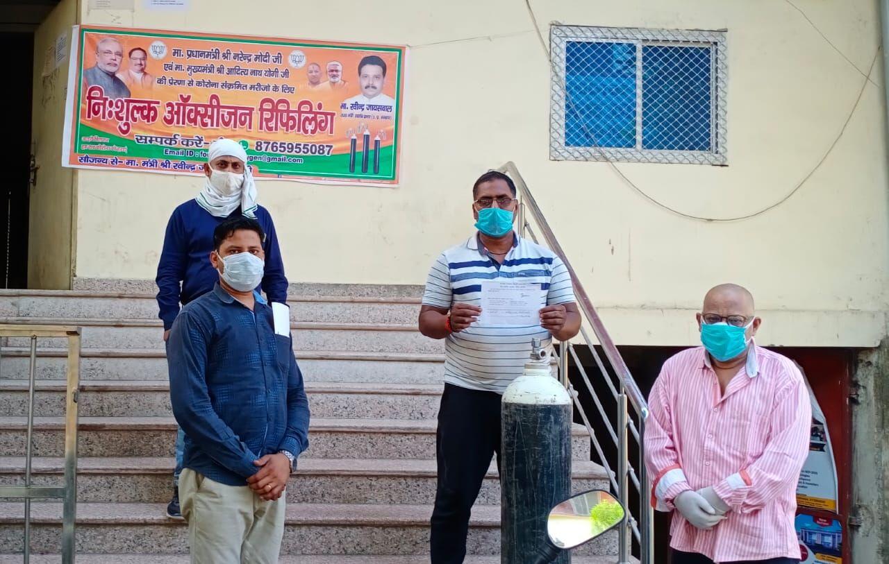 वाराणसी: कोरोना संक्रमितों को मंत्री रवींद्र जायसवाल के कार्यालय से निःशुल्क मिलेगा ऑक्सीजन सिलिण्डर