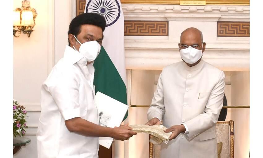 तमिलनाडु के मुख्यमंत्री स्टालिन ने राष्ट्रपति कोविंद से की मुलाकात