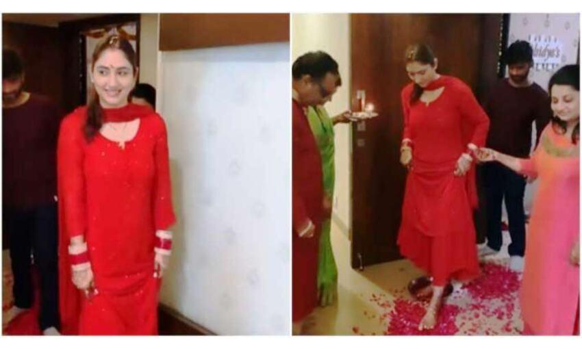 राहुल वैद्य संग दिशा परमार ने किया गृह प्रवेश, माँ ने किया स्वागत