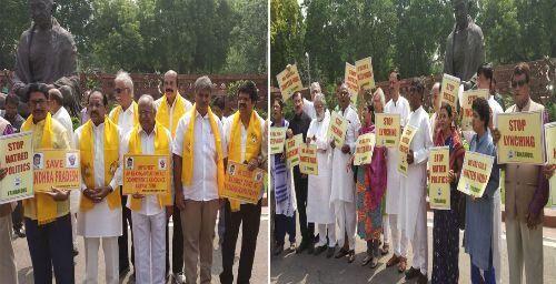 मॉब लिंचिंग : संसद परिसर में टीएमसी और टीडीपी के सांसदों ने किया प्रदर्शन