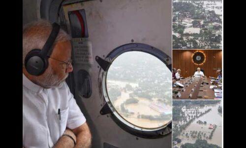 पीएम मोदी ने किया बाढ़ प्रभावित केरल का हवाई सर्वेक्षण, 500 करोड़ के राहत पैकेज का ऐलान