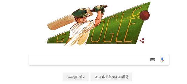 गूगल ने आज डूडल सदी के महानतम क्रिकेटर सर डॉन ब्रैडमैन को किया समर्पित