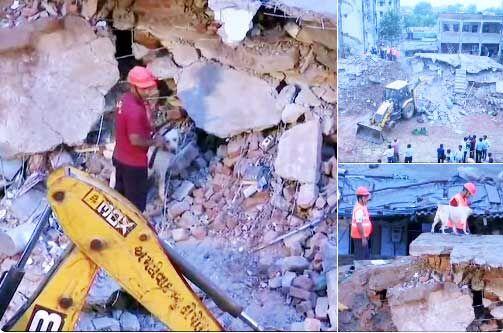 अहमदाबाद में इंदिरा आवास की दो बिल्डिंग धराशाई, मलबे में 10 के दबने की आशंका