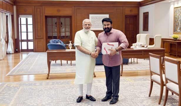 मलयाली फिल्मों के सुपरस्टार मोहनलाल ने प्रधानमंत्री नरेन्द्र मोदी से की भेंट