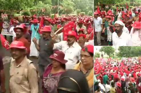 किसानों और मजदूरों की रैली से राजधानी में जाम