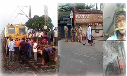 हेलमेट पहनकर बस चला रहे हैं चालक, हिंसक हुआ भाजपा का बंगाल बंद, बसों में तोड़फोड़, ट्रेन सेवा बाधित