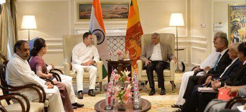 राहुल ने की श्रीलंका के प्रधानमंत्री रानिल विक्रमसिंघे से मुलाकात