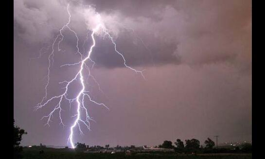आकाशीय बिजली गिरने से एक की मौत
