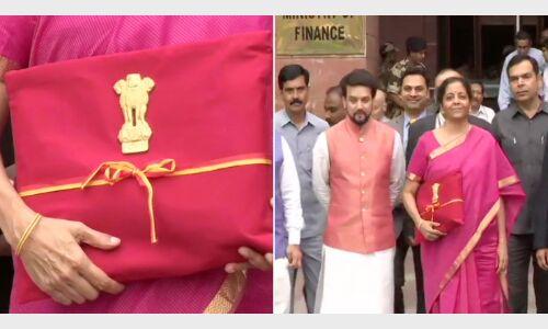 लाल कपड़े में लिपटा बही खाता लिए संसद पहुंची सीतारमण, पहले ब्रीफकेस में पेश होता था बजट