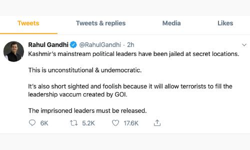 राहुल गांधी ने की जम्मू-कश्मीर में नजरबंद नेताओं काे रिहा करने की मांग