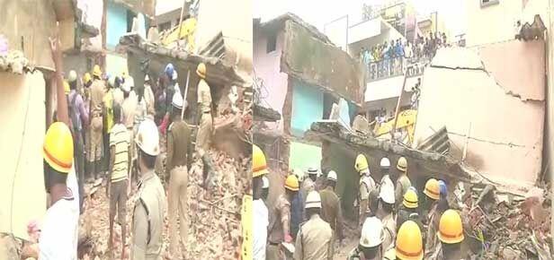 तीन मंजिला इमारत में आग लगने से ढही, सात लोगों की मौत