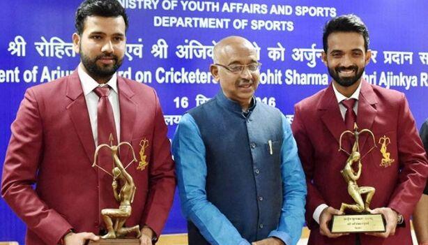 अजिंक्य रहाणे और रोहित शर्मा अर्जुन पुरस्कार से सम्मानित